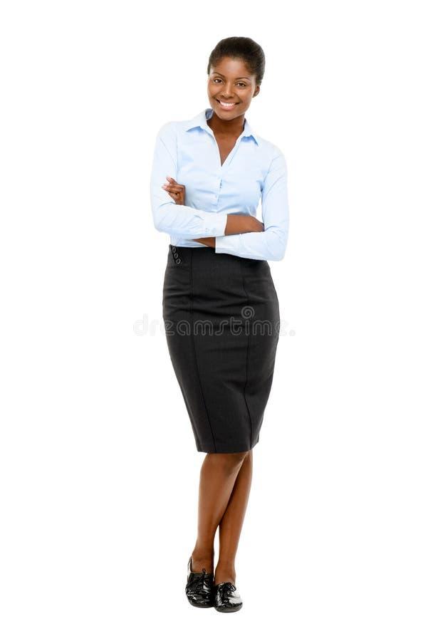 Ritratto integrale della donna di affari afroamericana felice su bianco immagine stock