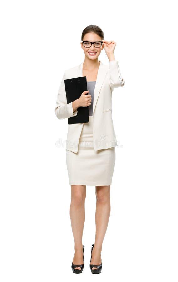 Ritratto integrale della donna di affari con la cartella immagine stock libera da diritti