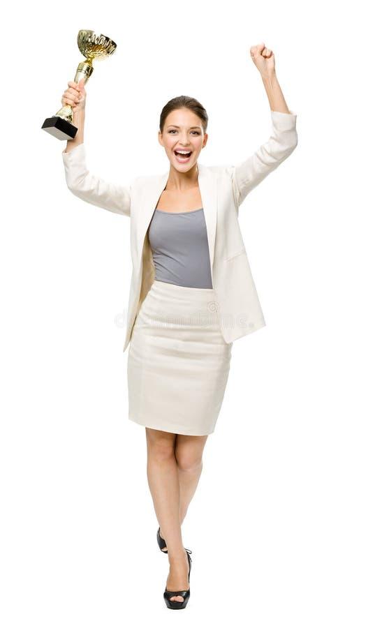 Ritratto integrale della donna di affari con la tazza fotografie stock libere da diritti