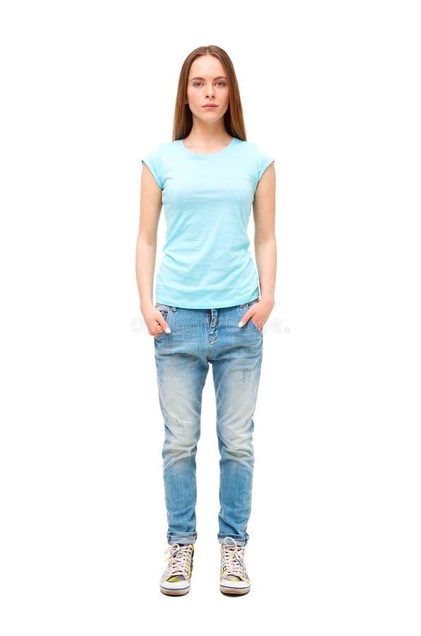 Ritratto integrale della ragazza in abbigliamento casuale isolato fotografia stock libera da diritti