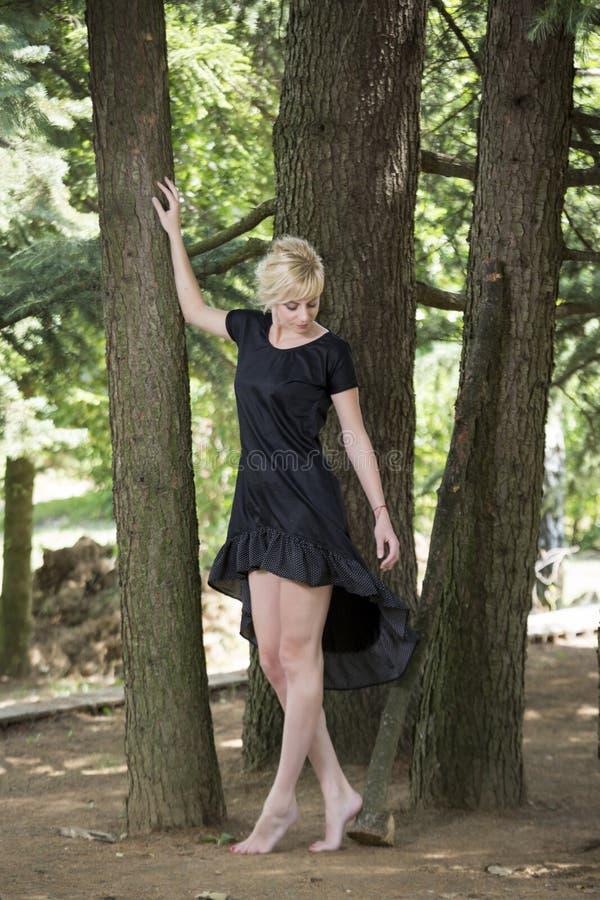 Ritratto integrale di belle giovani donne scalze che portano vestito nero mentre stando sotto il pino fotografie stock