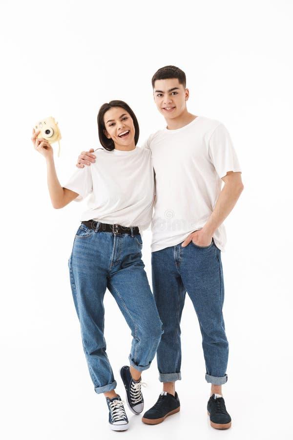 Ritratto integrale di giovane coppia attraente fotografia stock