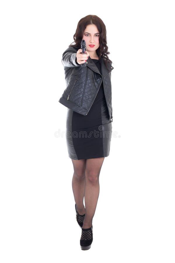 Ritratto integrale di giovane donna attraente che posa con la pistola i fotografie stock