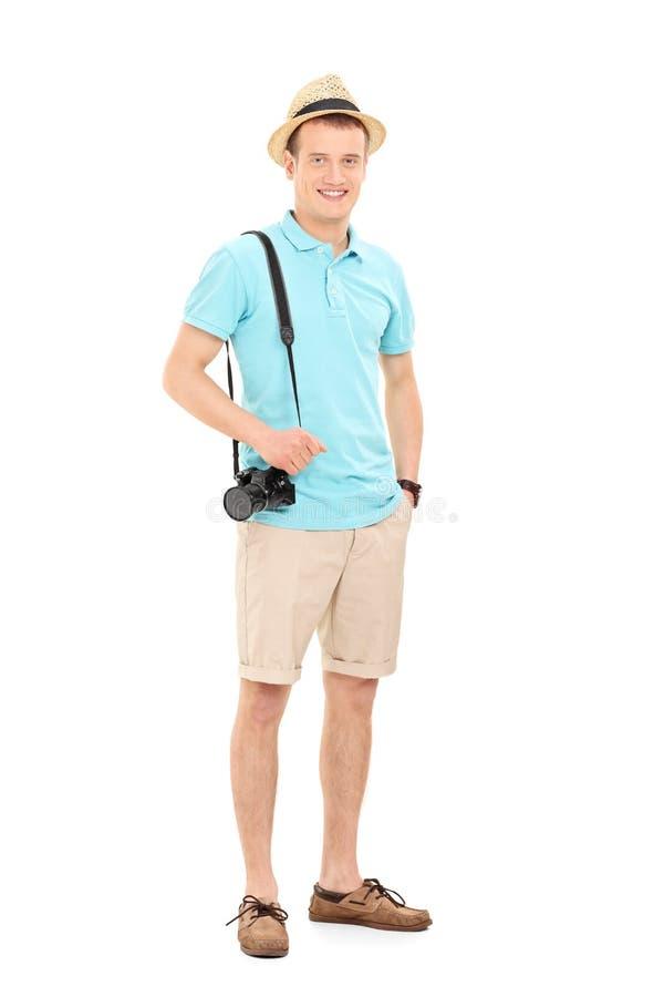 Ritratto integrale di giovane turista maschio immagini stock libere da diritti