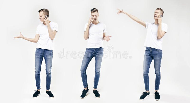 Ritratto integrale di giovane uomo bello di affari nelle pose differenti isolato su fondo bianco, facendo uso del telefono cellul immagini stock libere da diritti