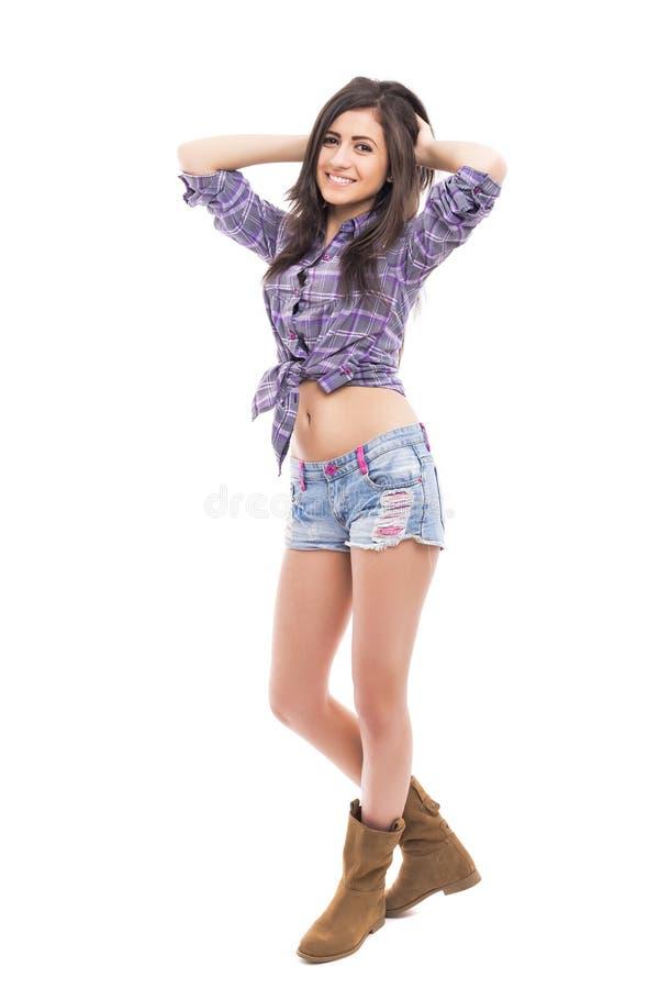 Ritratto integrale di modo d'uso del bello adolescente immagini stock