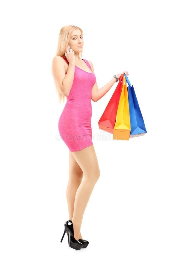 Ritratto integrale di una donna attraente con i sacchetti della spesa, immagini stock