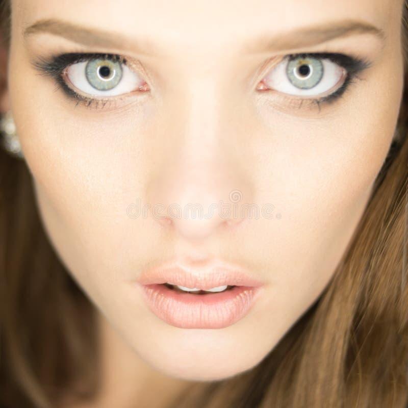 Ritratto magnifico di bella giovane donna con lo sci perfetto fotografia stock