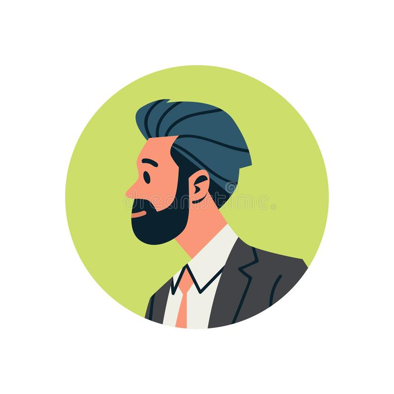 Ritratto maschio del personaggio dei cartoni animati dell'uomo d'affari dell'avatar dell'uomo del fronte di profilo dell'icona di illustrazione vettoriale