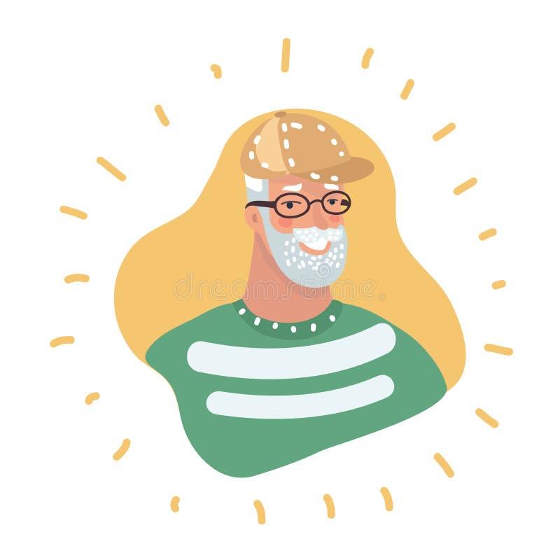 Ritratto maschio dell'icona di profilo dell'uomo senior royalty illustrazione gratis