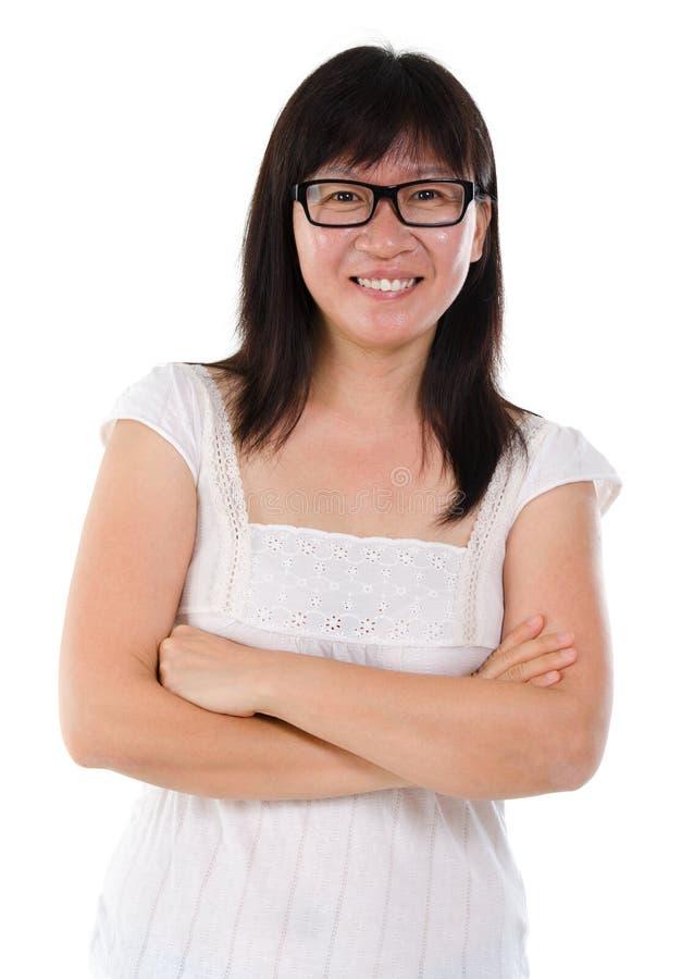 Ritratto maturo asiatico della donna fotografia stock libera da diritti