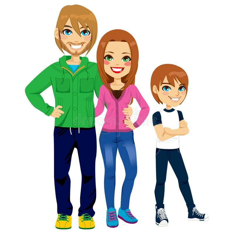 Ritratto moderno della famiglia illustrazione vettoriale