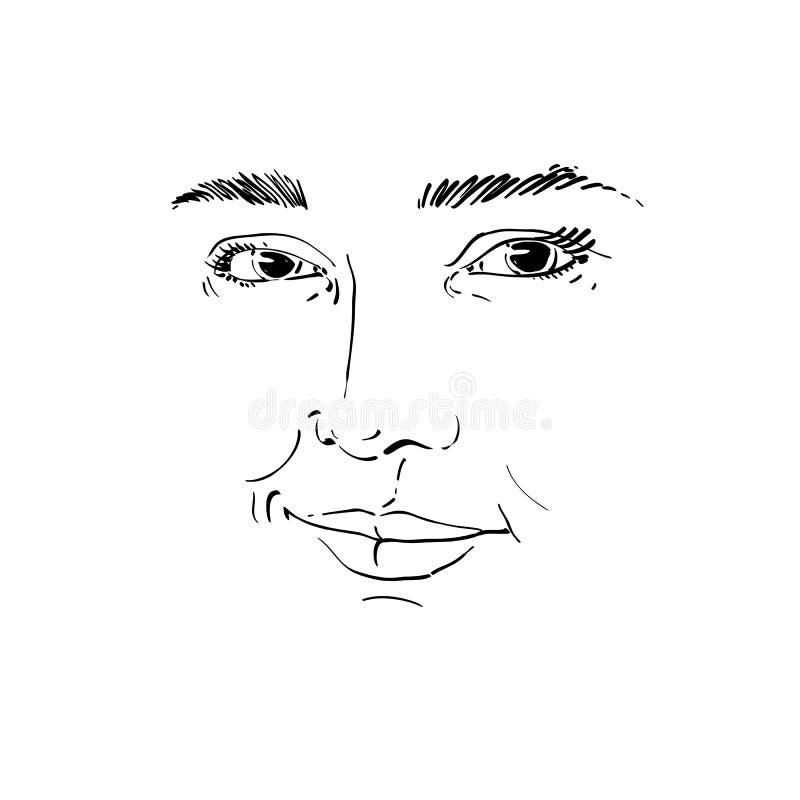 Ritratto monocromatico disegnato a mano della donna di flirt dalla pelle bianca, fac illustrazione di stock