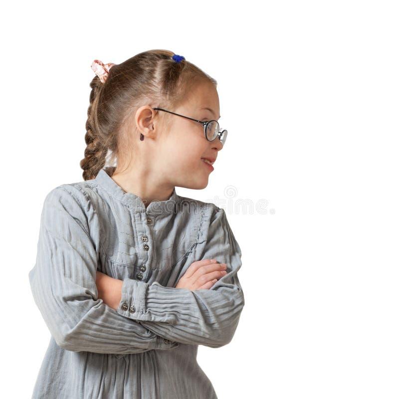 Ritratto nel profilo di una ragazza bianca in vetri ed in un vestito grigio immagini stock