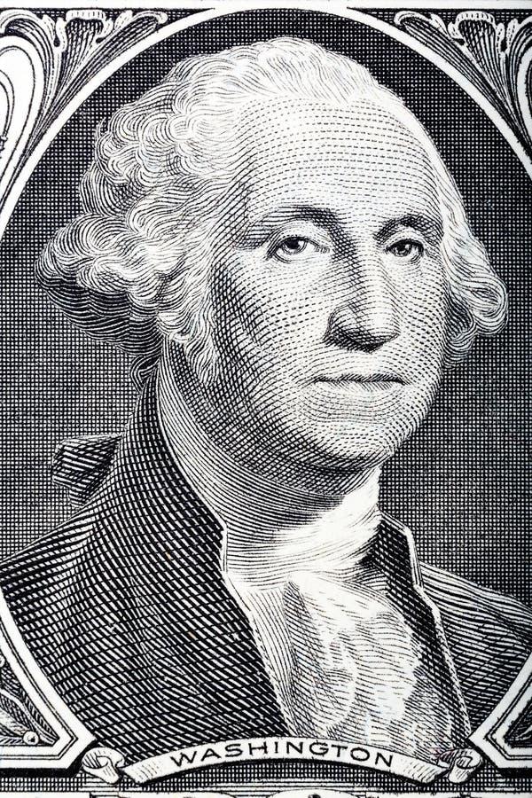 Ritratto nella macro del fronte del ` s di Washington su un'una banconota in dollari fotografie stock