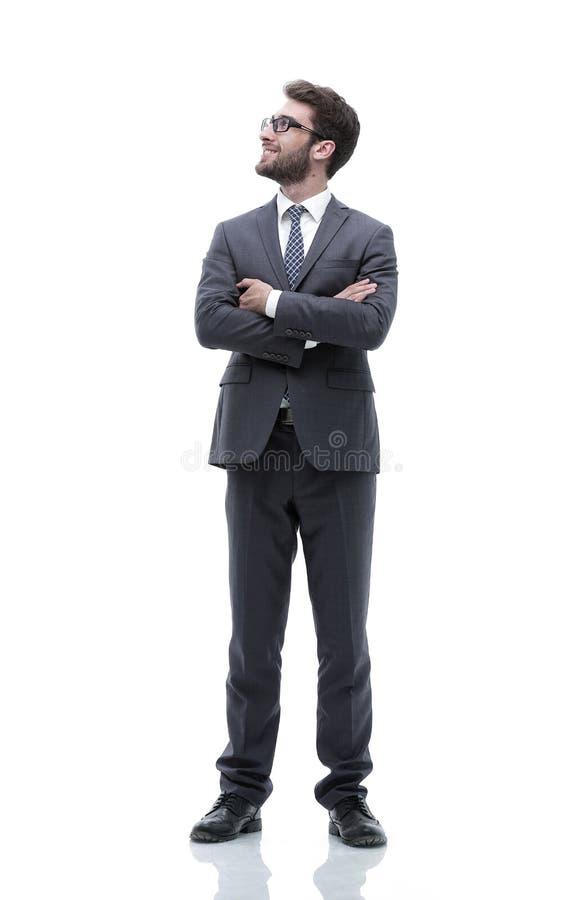 Ritratto nella piena crescita di un uomo d'affari sicuro serio fotografia stock