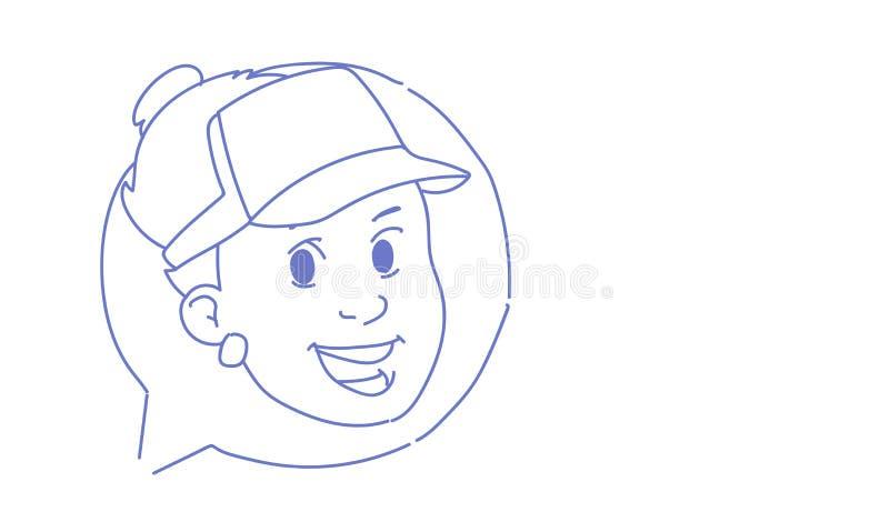 Ritratto online del carattere dell'uomo di scarabocchio di schizzo di concetto di comunicazione del giovane di chiacchierata dell illustrazione vettoriale