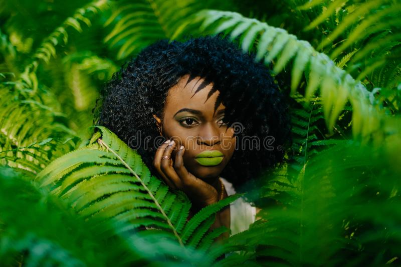 Ritratto orizzontale La ragazza africana abbastanza attraente con rossetto verde ed ombretti che toccano tenero il suo fronte fotografia stock libera da diritti