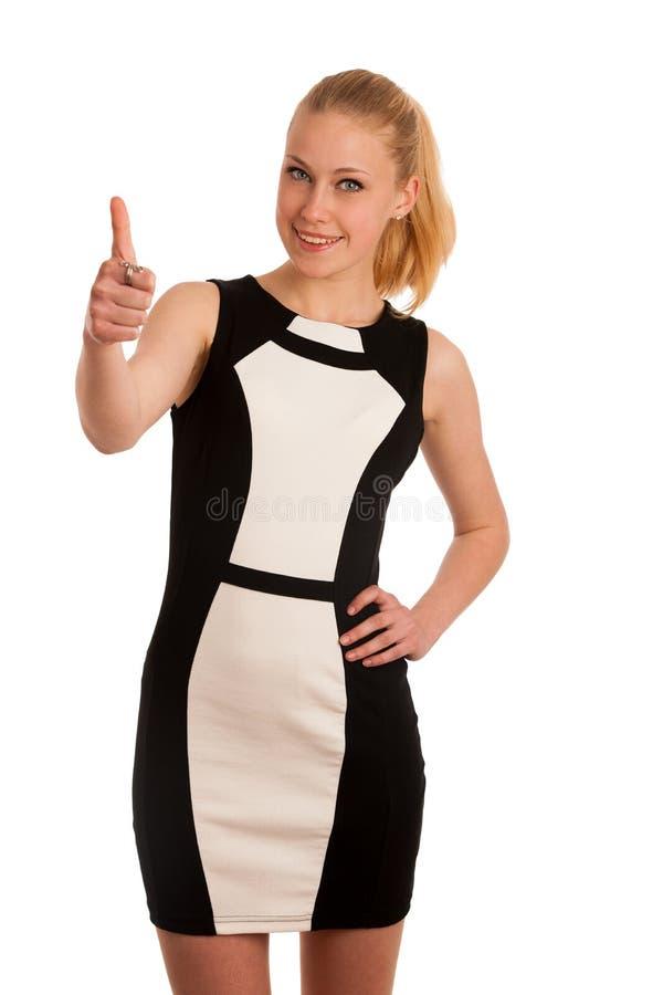 Ritratto OV una bella giovane donna caucasica bionda di affari dentro immagine stock
