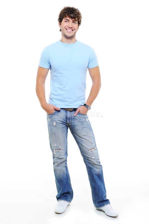 Ritratto Pieno-lenth dell'uomo felice bello fotografie stock