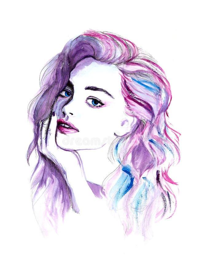 Ritratto porpora della donna di modo dell'acquerello illustrazione di stock