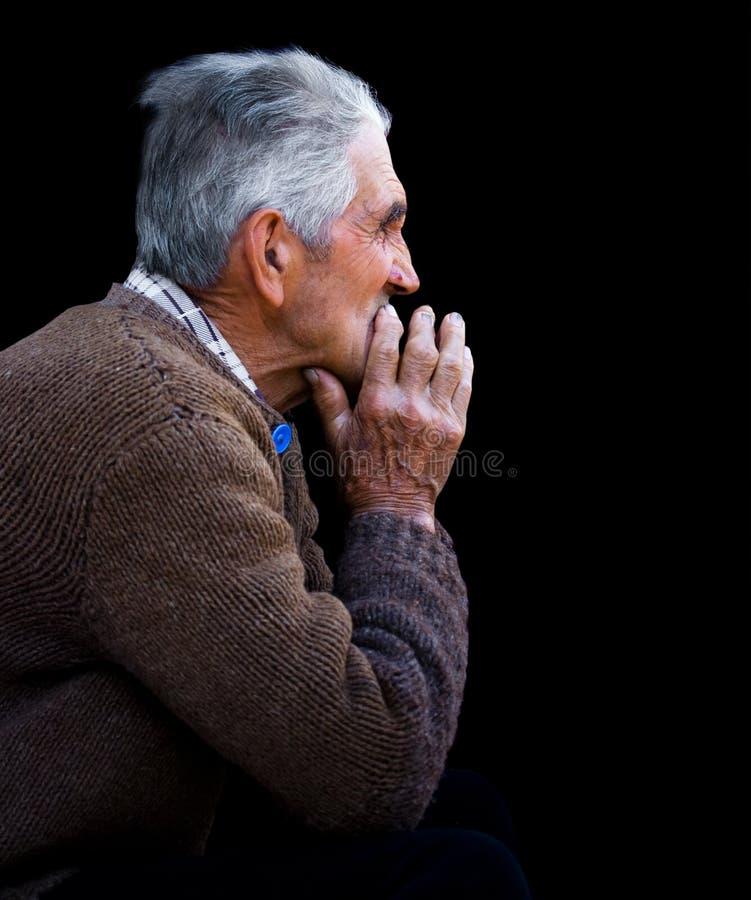 Ritratto Scuro Di Un Uomo Anziano Fotografia Stock