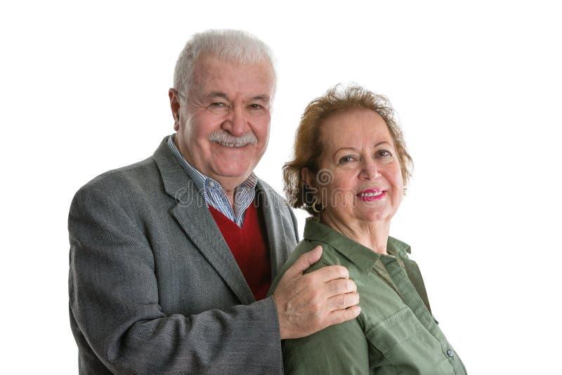 Ritratto senior delle coppie su bianco immagine stock libera da diritti