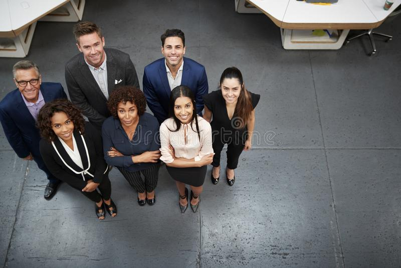 Ritratto sopraelevato dell'affare Team Standing In Modern Office immagine stock