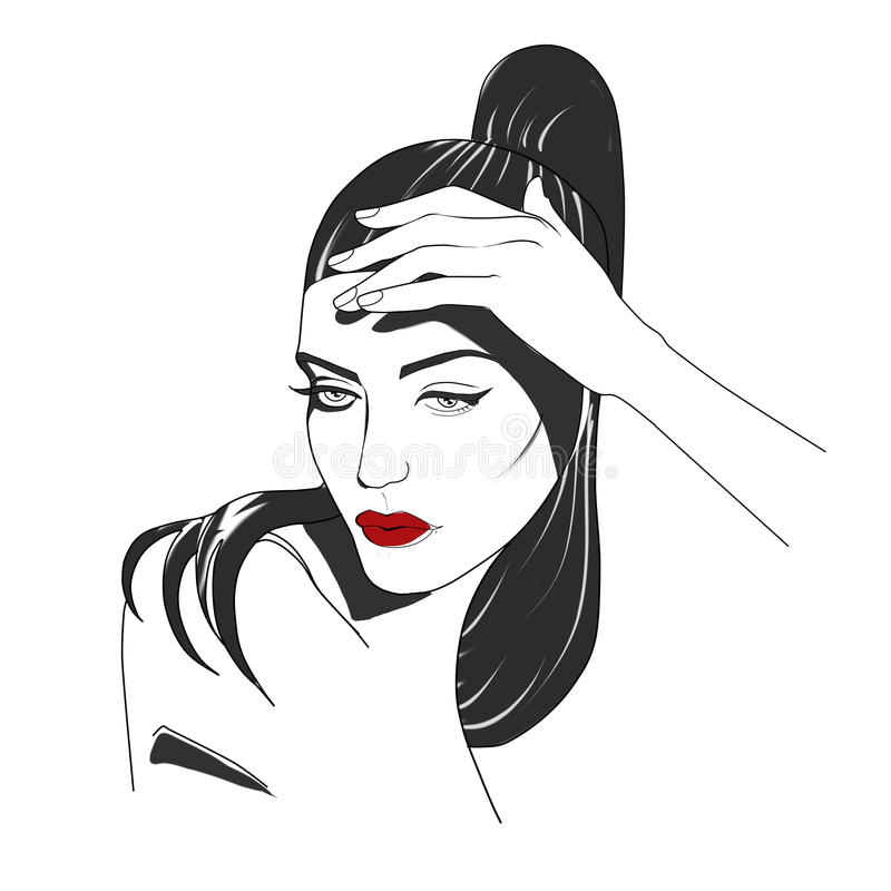 Ritratto Stilizzato Della Donna In Bianco E Nero Illustrazione Di Stock Illustrazione Di Rosso Curve 65882924