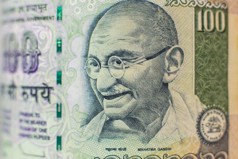 Ritratto sulla fattura di soldi indiana fotografia stock