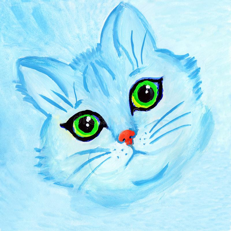 Ritratto sveglio del gatto blu con gli occhi verdi royalty illustrazione gratis