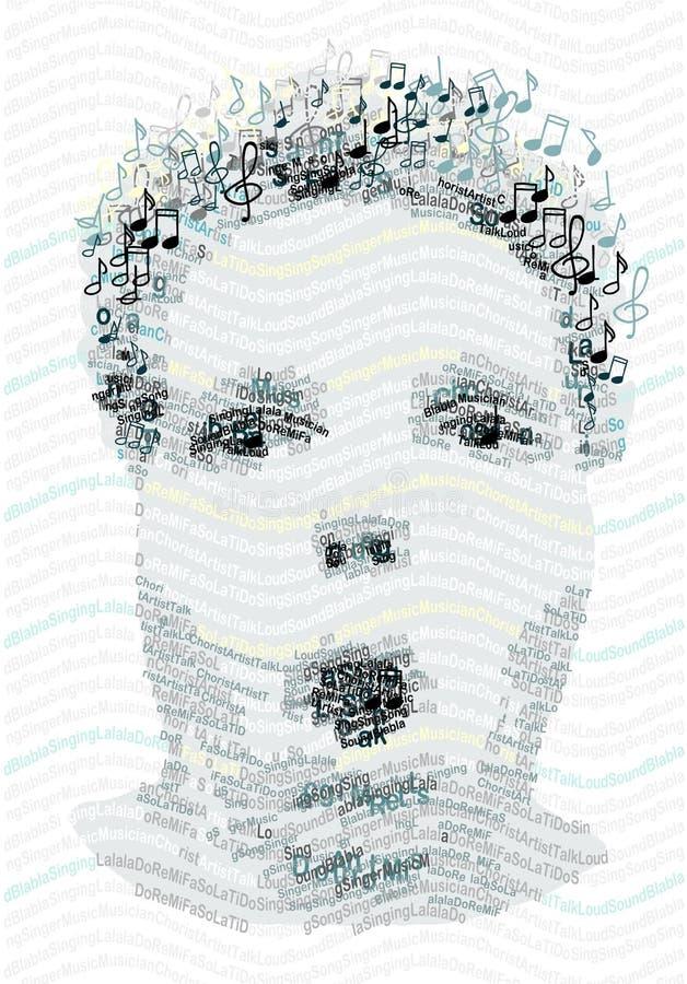 Ritratto umano fatto con le note di musica e delle lettere illustrazione di stock