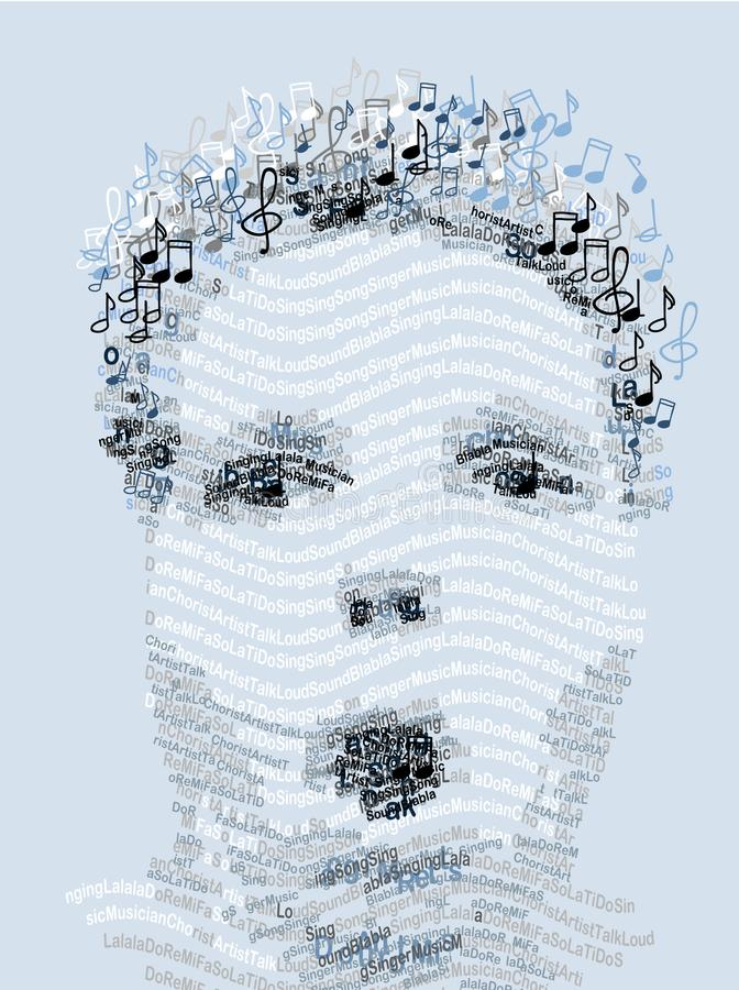 Ritratto umano fatto con le note di musica e delle lettere royalty illustrazione gratis