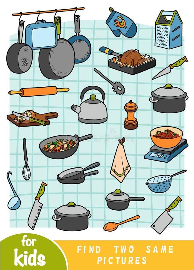 Ritrovamento due le stesse immagini, gioco di istruzione Insieme degli oggetti della cucina royalty illustrazione gratis