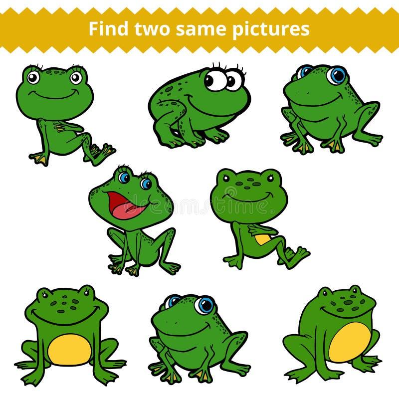 Ritrovamento due le stesse immagini Insieme di colore di vettore delle rane illustrazione di stock