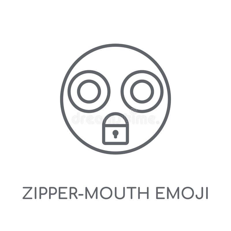 Ritssluiting-mond emoji lineair pictogram Moderne overzichts ritssluiting-Mond emoj vector illustratie