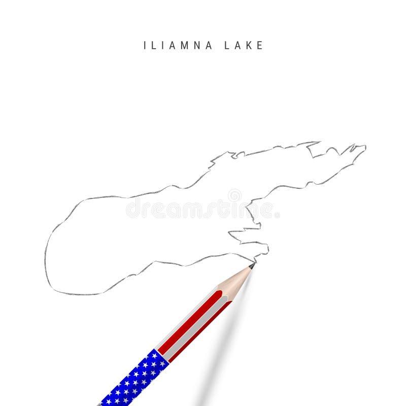 Ritstift för Iliamna Lake-vektorkarta Iliamna Lake-konturkarta med blyertspenna i amerikanska flaggfärger royaltyfri illustrationer