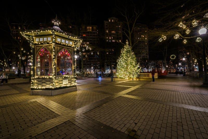 Rittenhousevierkant in Centrumstad bij Nacht in Philadelphia, Penn stock afbeelding