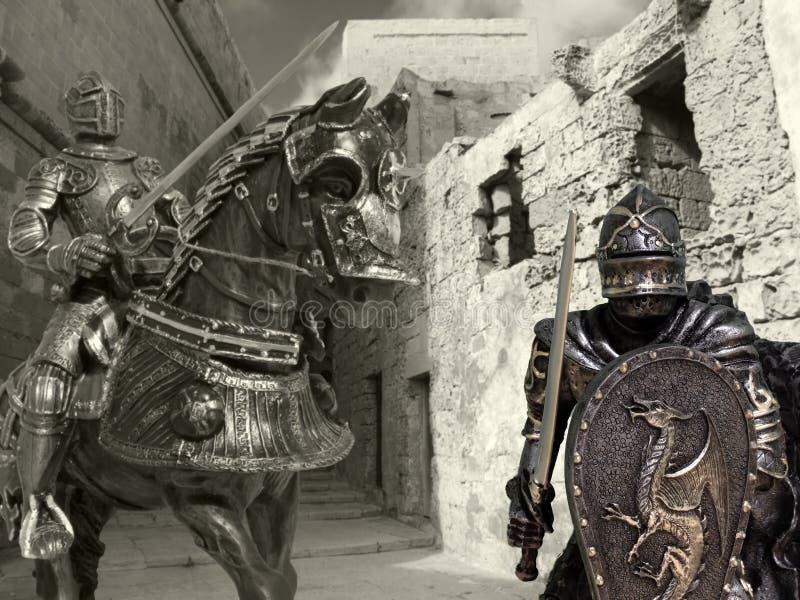 Ritter auf zu Pferde stockbild