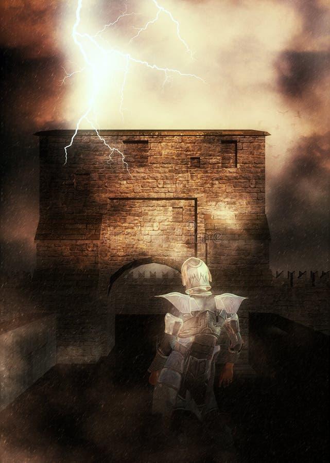 Ritter 3d und Festung lizenzfreie abbildung