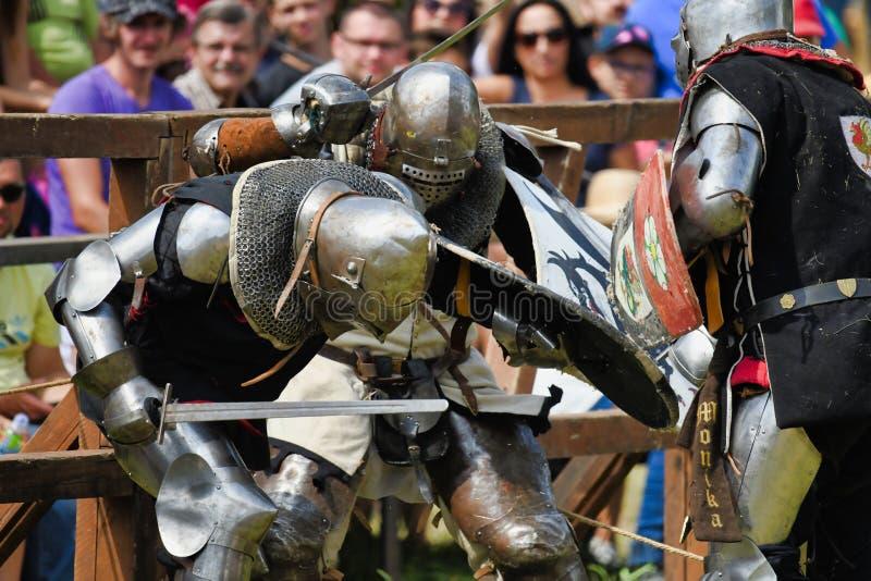 Ritter, die am Mediaval-Turnier in Grunwald Polen auf 13 kämpfen 07 2019 lizenzfreie stockbilder