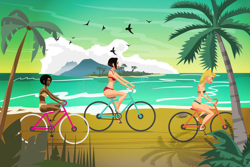 Ritter för unga kvinnor cyklar på sommarstranden på solnedgången Vektor plan il royaltyfri illustrationer