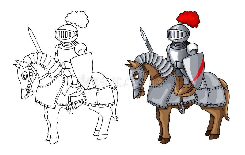 Ritter-Klagen-Körper-Schutz-Rüstung mit Klingen- und Schildkarikaturillustration vektor abbildung