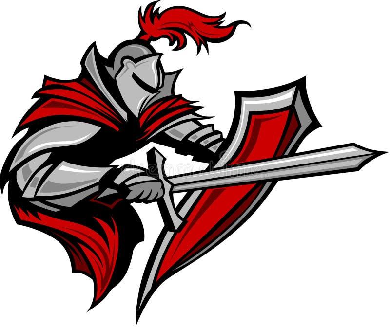 Ritter-Krieger-Maskottchen mit Klinge und Schild stock abbildung