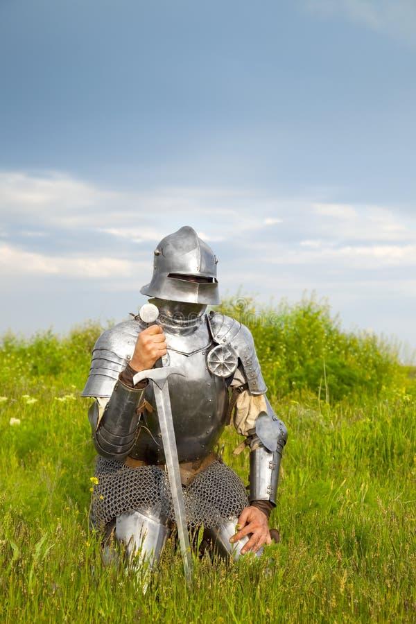 Ritter, nach dem Kampf stockfoto