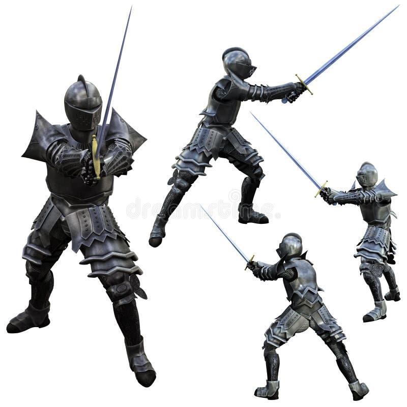 Ritter-Schwertfechter lizenzfreie abbildung