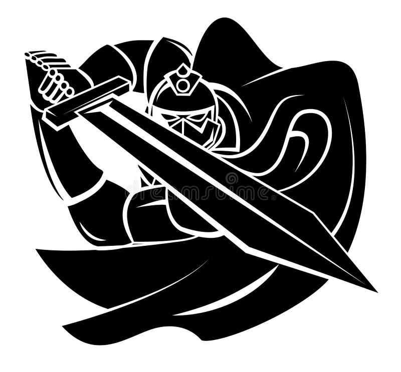Ritter Warrior Vector Illustrationn lizenzfreie abbildung