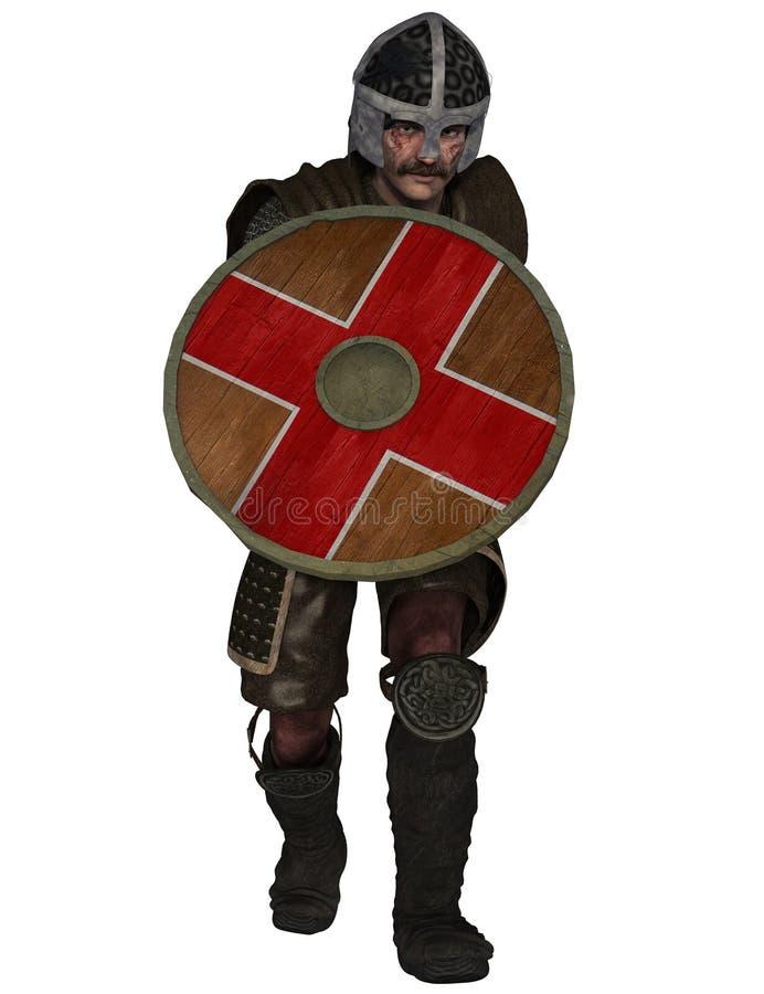 Ritterkrieger mit Schild lizenzfreie abbildung