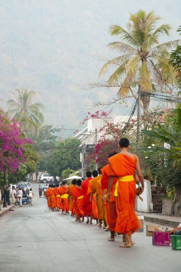 Ritual av munkar som samlar allmosa - Luang Prabang royaltyfria foton