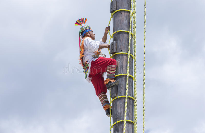 Ritual ceremony of the Voladores Flying Men stock photo